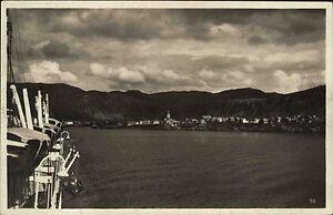 Hammerfest-Norwegen-Norge-Finnmark-1930-Panorama-Oversikt-Schiff-Stadt-Fjord