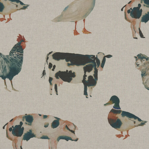 Clarke and Clarke On The Farm Linen Cotton PVC WIPE CLEAN Tablecloth Oilcloth