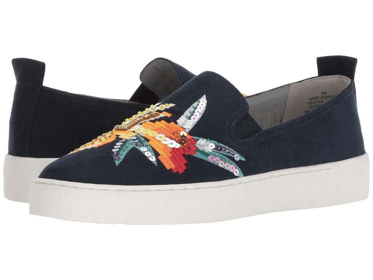 Nine West Playavista Embroidered Sequins Beads Navy Suede Slip-On shoes Wms NEW