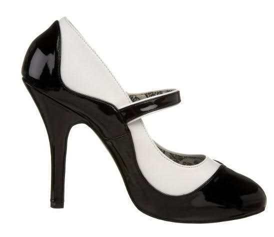 SEXY scarpe decolte cinturino 11,5 nero/bianco mini plateau t 11,5 cinturino dal 36 al 42 GLAM 1b6163