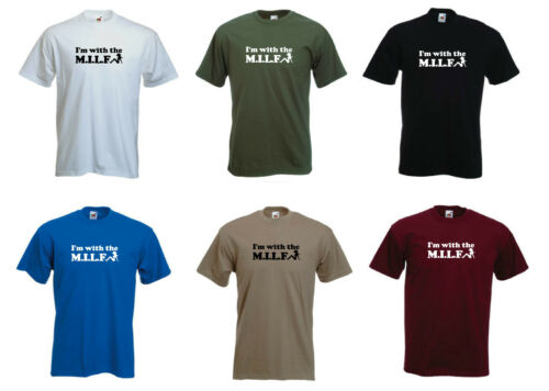 S-XXL /'I/'m with the M.I.L.F/' Mens Funny Milf T-shirt