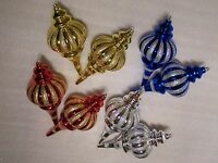 2 X LARGE Christmas Tree Decorations Spear Glitter Baubles Gold Silver Red Blue