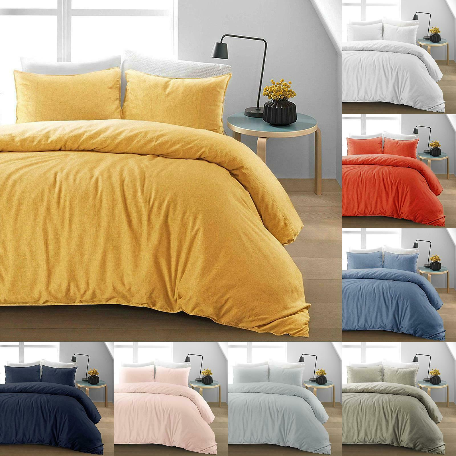 Luxury Natural 100 Linen Cotton Soft Quilt Duvet Cover Bedding Bed Linen Set Ebay