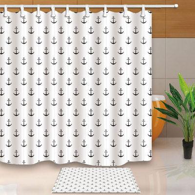 Nautical Ship/'s Anchor Waterproof Fabric Shower Curtain Bathroom Mat Home Decor