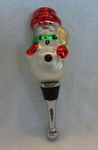 Blown Glass Snowman Shaped Wine Bottle Stopper Ebay