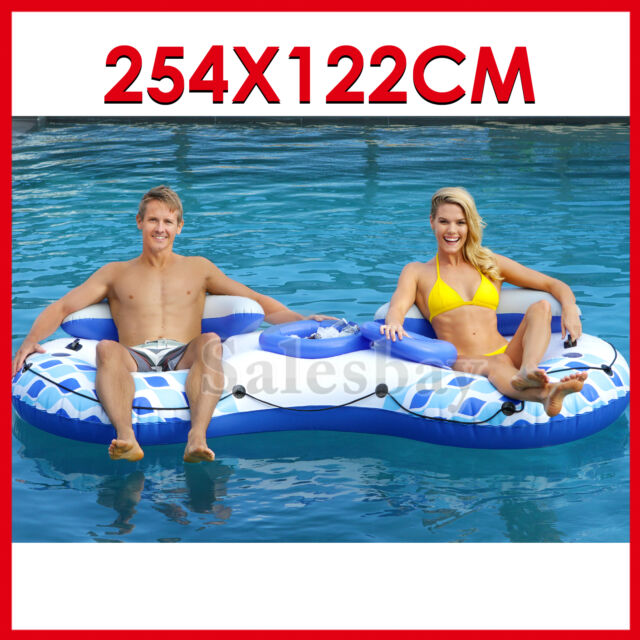 Air Inflatable Inflate Pool Toy River Tube 2 Person With Cooler 254X122cm