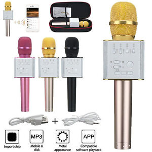 Q9 Wireless Bluetooth Microphone Portable Karaoke Stereo USB Player KTV Gold