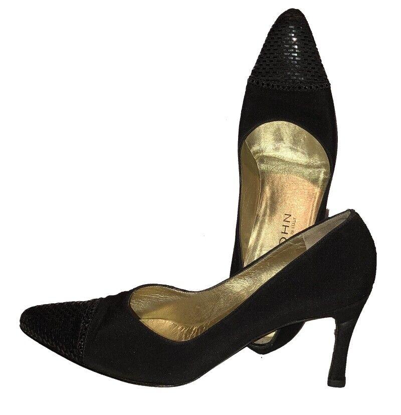 St John Black Pointy Stiletto Heels w Shimmery Toe 9M  Vintage gold Insoles