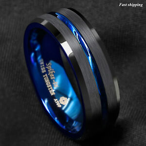 8-6mm-Tungsten-Men-039-s-Ring-Thin-Blue-Line-Inside-Black-Brushed-Band-ATOP-Jewelry