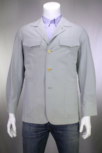 CHESTER BARRIE Savile Row Light Gray Wool 70s Style Safari Blazer Jacket 40R