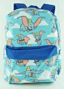 Disney-Dumbo-Backpack-Elephant-Allover-Print-Large-16-034-Blue-with-Front-Pocket