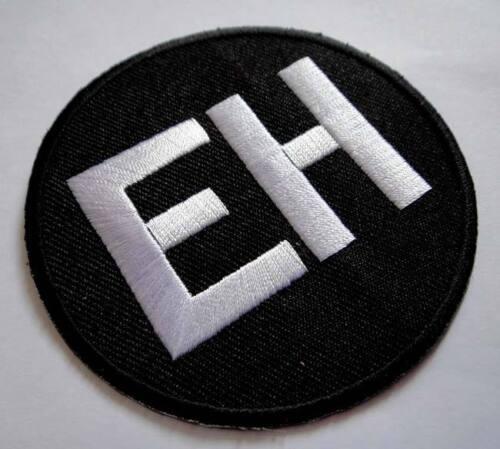Name Tag EH noir /& blanc rond brodé Iron On Patch livraison gratuite