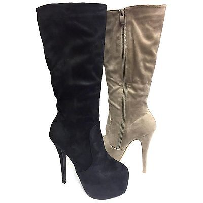 LADIES WOMENS SUEDE BOOTS STILETTO HIGH HEEL MID CALF WINTER BIKER BOOTS FB-8814