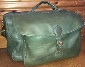 Roots-Duffle-Weekend-Bag-Large-Army-Green-Distressed-Leather-Shoulder-Strap