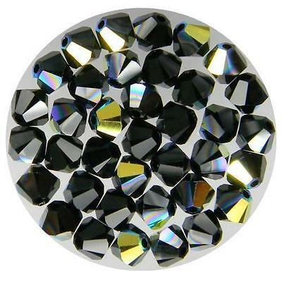 **Genuine Swarovski Black Jet AB Bicone Crystal Beads