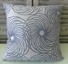 Retro Flowers Silver and Grey Cushion Cover