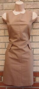 NEXT-TAILORED-BEIGE-POCKETS-SIDES-A-LINE-SLEEVELESS-FORMAL-WORK-FIT-DRESS-10-S