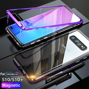 Magnetic Adsorption Case For Samsung Galaxy S10 Plus S10e S8 S9 Plus Glass Cover Ebay