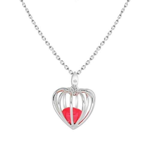 Lily /& Lotty 925 Sterling Silver Genuine Diamond Set Heart Cage Necklace Boxed