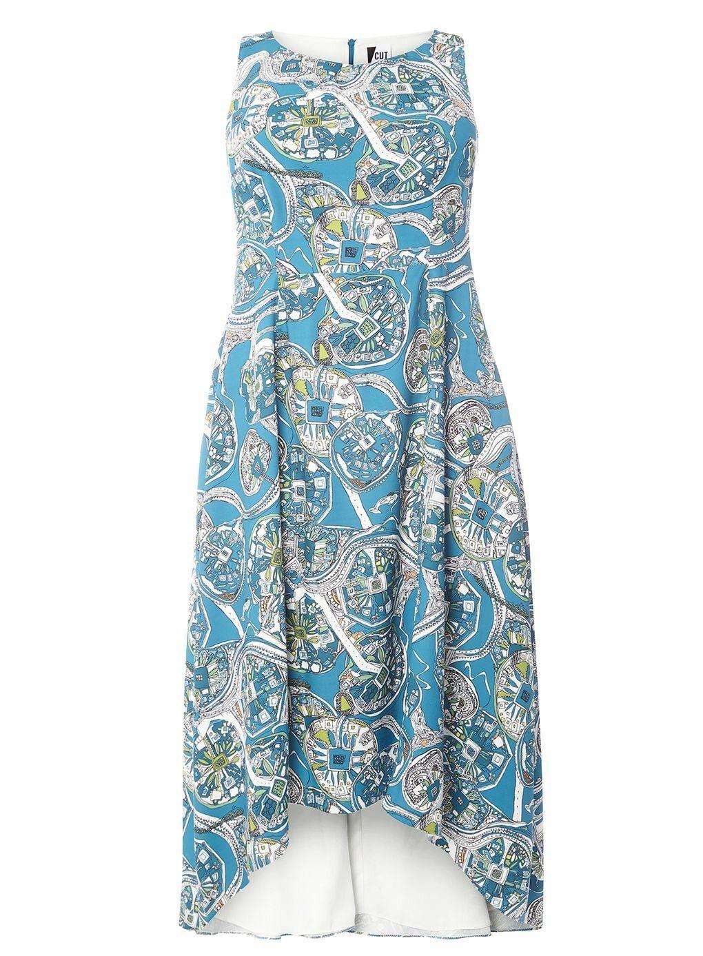 Cut For Evans jewel print high low midi bluee teal dress plus curve 22