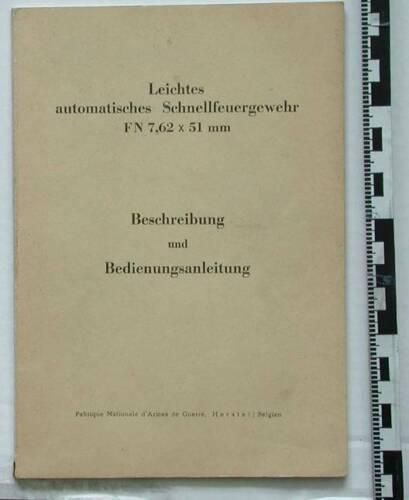 original 1950´s factory manual Bedienungsanleitung  FN FAL G1 BW BGS german