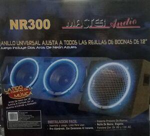COPPIA NEON CIRCOLARE BLU SUB 30cm SUBWOOFER ACCESSORI GRIGLIE HIFI TUNING 300MM