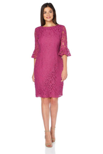 Ladies Frill Dress Shift Magenta Originals Sleeve Lace Roman 5qZwxZ