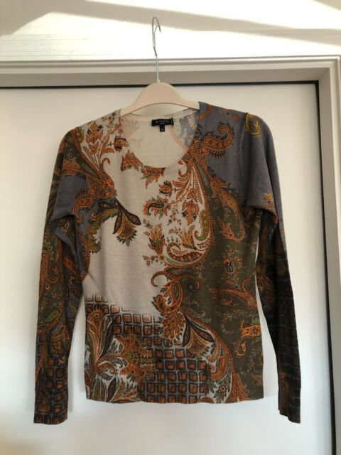 Etro Milano Gray Brown Orange Silk Cashmere Paisley Sweater Top Size 44