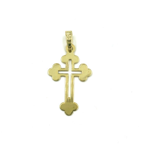 """Details about  /14k Yellow Gold over 925 Sterling Silver Charm Pendant Cross 1/"""""""