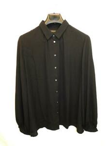 Banana-Republic-L-Black-Ruched-Neck-Blouse-Long-Sleeve-Shirt-Hip-Length-Work
