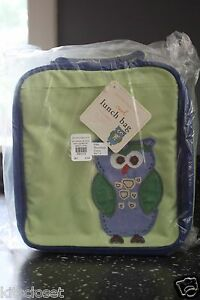 Pottery Barn Kids Lunch Box Bag Pbk Green And Blue Owl