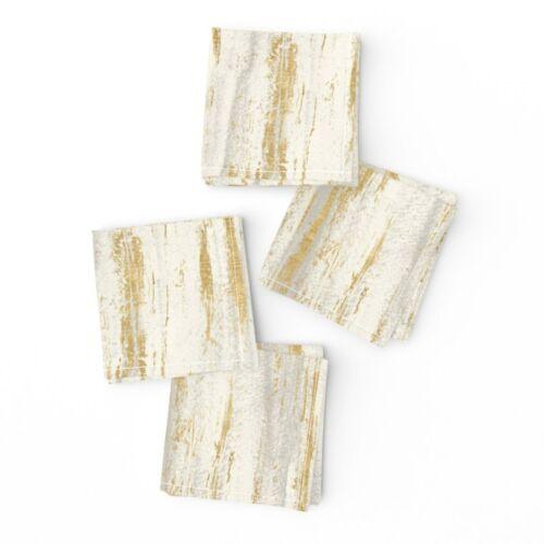 Cocktail Napkins Gold Grunge Birch Texture Neutral Paint Brush Set of 4