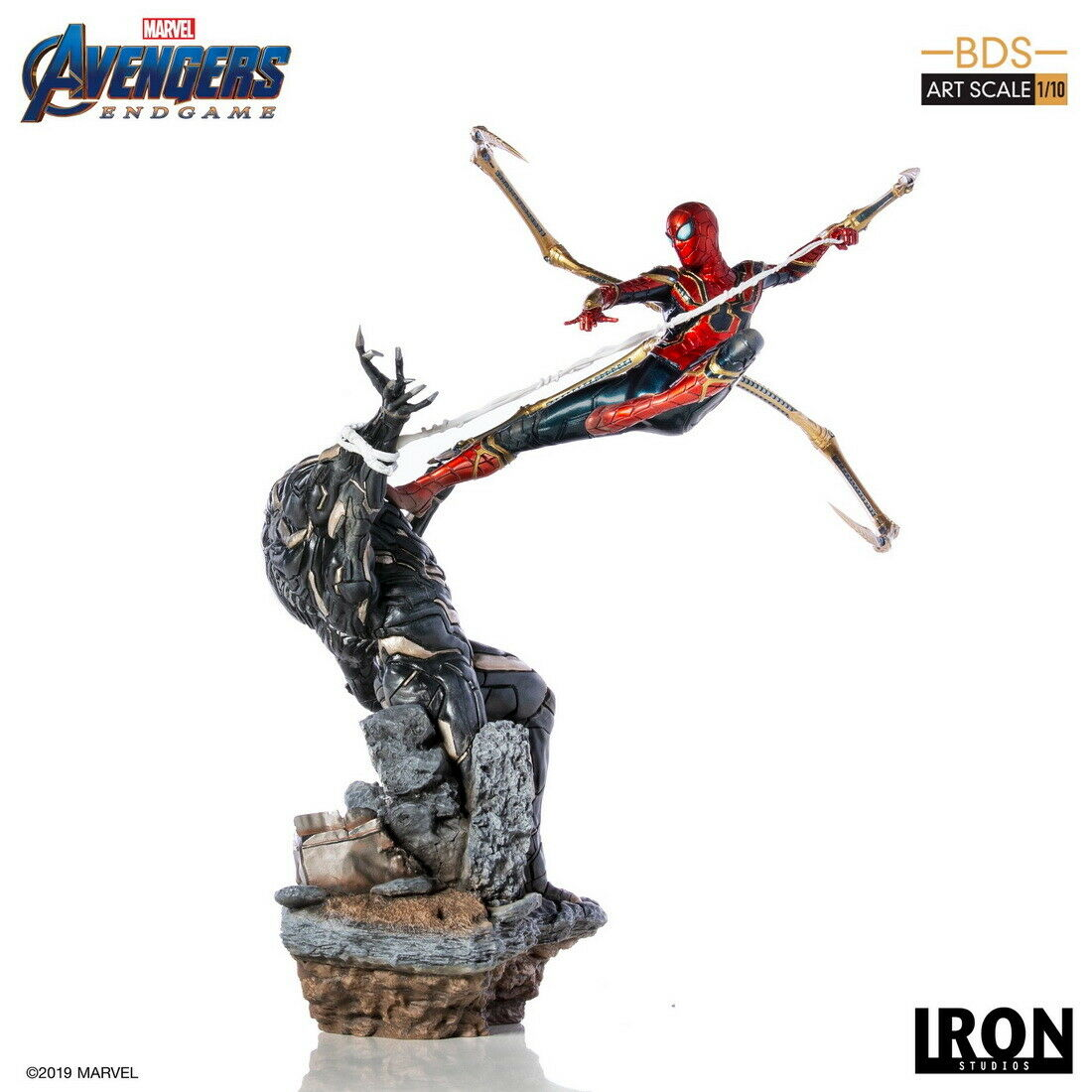 Iron Studios Avengers: Endgame Iron Spider Man Vs Outrider 1/10 Statue US SHIP on eBay thumbnail