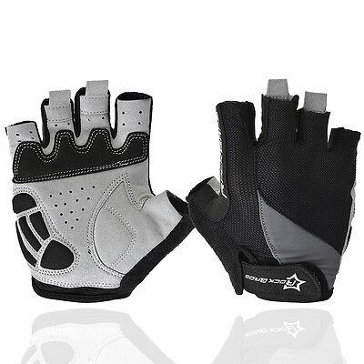 ROCKBROS Gel Bike Half Finger Cycling Gloves Fingerless Sport Short Gloves Black