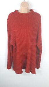 WOMENS-MARKS-AND-SPENCER-RED-KNITTED-JUMPER-SWEATER-PULL-OVER-SIZE-UK-20