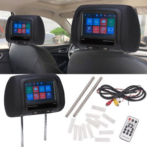 7-034-Touchscreen-Car-Headrest-Monitor-Back-Seat-MP5-Monitors-with-USB-SD-IR-FM-BT