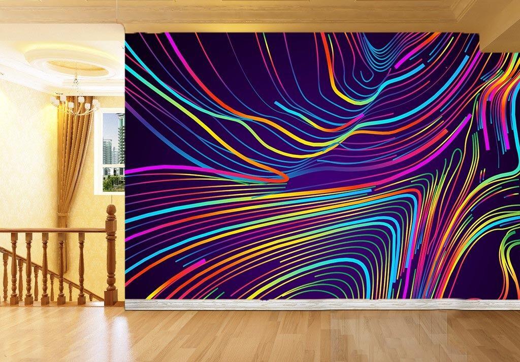 Papel Pintado Mural De Vellón Línea Arte colorido 2 Paisaje Fondo De Pansize ES