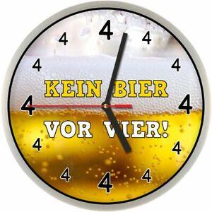 Details About 278 Wanduhr Kein Bier Vor Vier Ansehen Gag Uhr Geschenk Für Männer