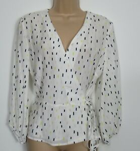 Hobbs-Lucinda-Abstract-Print-Wrap-Blouse-Top-Work-Occasion-Size-6-14