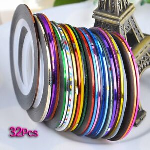 32 pcs nail Sticker Fil Bandes Striping Tape Autocollant Manucure Ongle Nail a1w