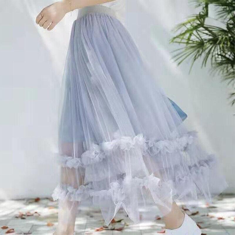 Damen Netz Spitze Rock Ruffles Durchsichtig A-Linie Plissiert Rüschen Midi Fairy