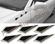 Universal Chrome Front Bumper/Side Fender AirFlow Mesh 6 Vents Trim 4 Car/Truck