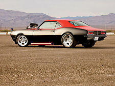 """1968 Chevy Camaro hot rod blown blower engine muscle cars Mini Poster 13""""x19"""" HD"""