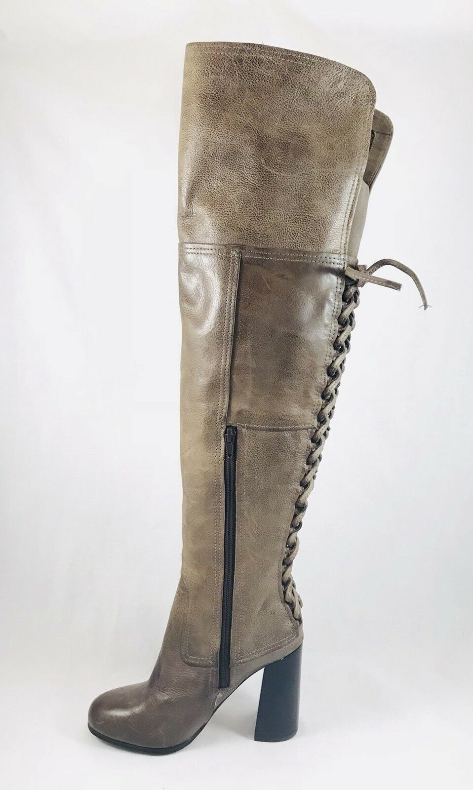 Vince Camuto Tolla Laced Over the Knee Boots Grey Distressed Leather Size 6