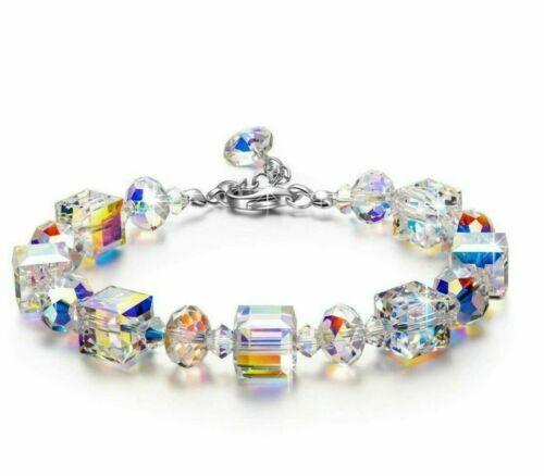 Beautiful Aurora Austria Crystals Bracelet 925 Silver Wedding Adjustable 7