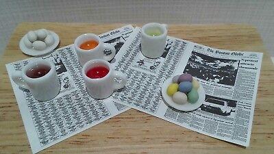 DOLLHOUSE 1:12 Miniature Adinolfi Dying Dye Easter Eggs Set Pink Green Yellow
