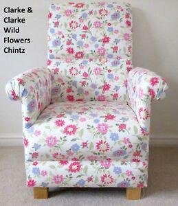 Image is loading Clarke-Wild-Flowers-Fabric-Adult-Chair-Pink-Floral- & Clarke Wild Flowers Fabric Adult Chair Pink Floral Shabby Chic ...