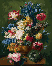 """New DIY Paint By Number 16*20"""" kit Oil Painting On Canvas Vintage Flower 966"""