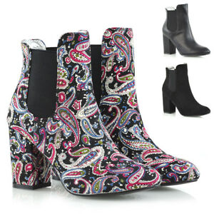 Womens-Mid-High-Heel-Ankle-Boots-Ladies-Pull-On-Chelsea-Elastic-Gusset-Shoes-3-8