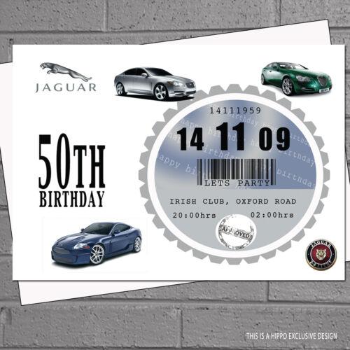 12 x Mens 40th 50th 60th Car Tax Birthday Party Invitations ANY CAR H0177